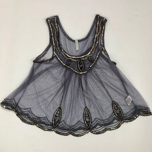 Free People Gatsby Beaded and Sequin Swing Top